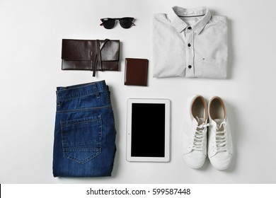Set of clothes and accessories for man on white background