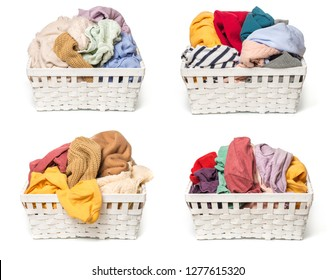 set of Clothes in a laundry wooden basket isolated on white background