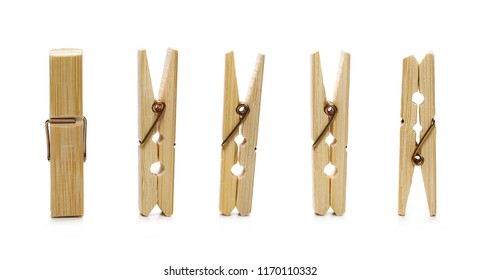 Set clothespins, natural bamboo peg isolated on white background
