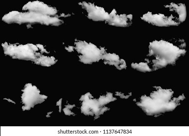 Set of cloud white fluffy on isolated elements black background.
