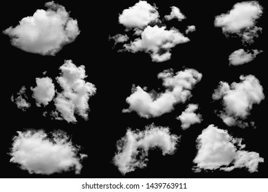 Set of clouds white for design on isolated elements black background.
