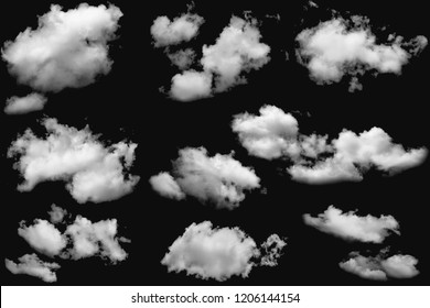 Set of clouds white fluffy on isolated elements black background