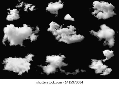 Set of clouds white  on a isolated elements black background.