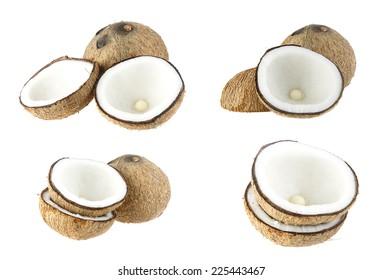 Set of coconut fruit - ingredient food on white background