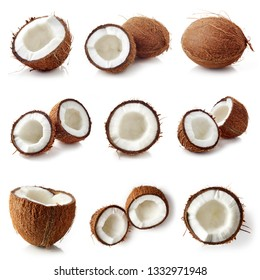 Set of coconut halves and whole coconut isolated on white background