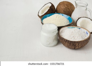 Set of coconut products, butter, milk, flour, chips