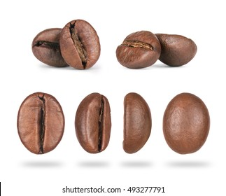 set of coffee beans close-up in different positions isolated on white background