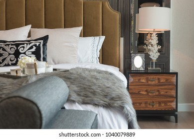 set of coffee cup on tray in classic master bedroom style, interior design concept