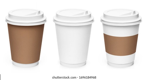 Set of coffee cups, isolated on white background