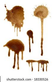 set of coffee splashes