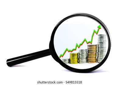 set coins 5 row upward green arrow money growth  in magnifying glass money gain business concept