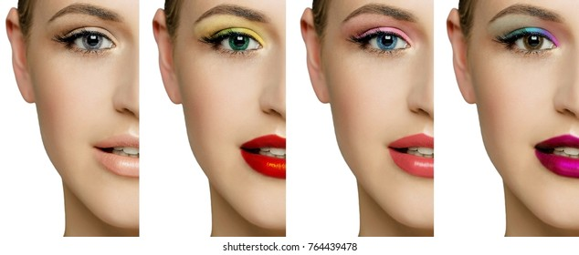 e6f69867 set, collage, different types of make-up and on one female face. Colored  contact lenses with water drops close up