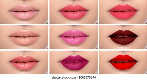 Set or collage female lips with different color of lipsticks on the female lips. shades of lipstick makeup variations