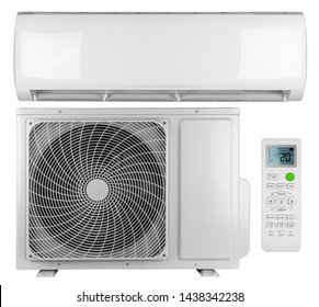 Set collection of air conditioner ac inverter heat pump mini split system with indoor outdoor unit and remote control isolated on white background