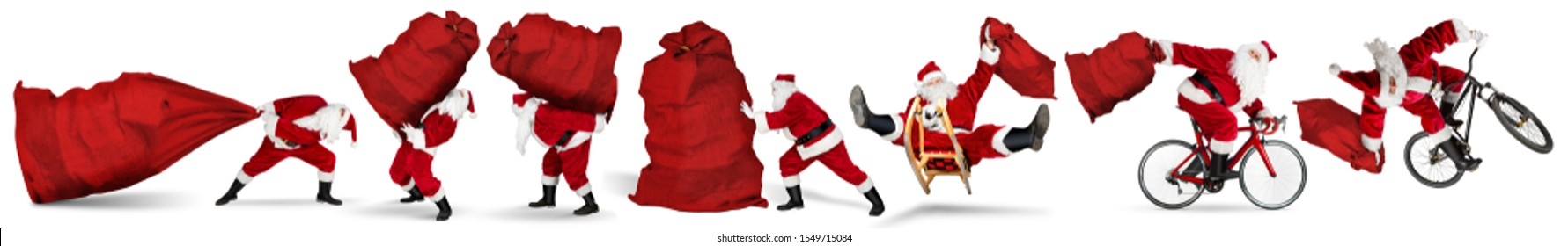 Set collection of crazy red traditional santa claus with bag extreme funny with sleigh bike bicycle jump and huge giant big gift bag isolated on white christmas background