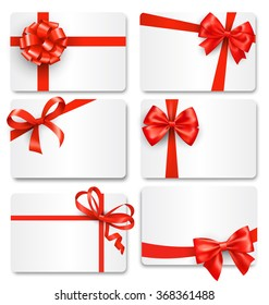 Set Collection of Festive Cards with Bows Isolated on White Background