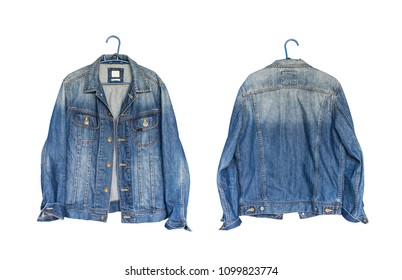 Set Collection front back modern blue jeans denim jacket isolated on white background, with clipping path
