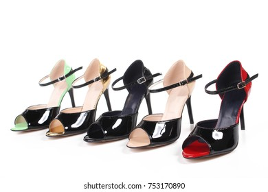 Set collection of high heel women shoes on white background