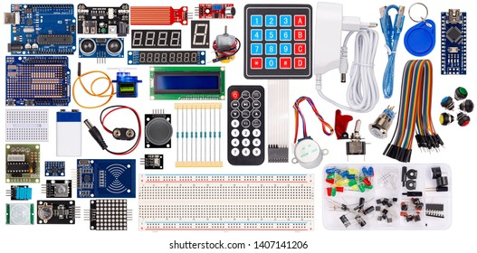 set collection microcontroller parts board display sensor button switches rfid module lcd cable wire accessories and equipment isolated on white electronics concept background