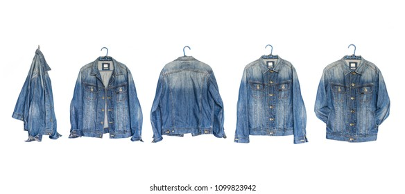 Set Collection modern blue jeans denim jacket isolated on white background, with clipping path