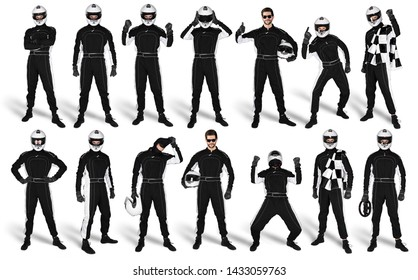 Set Collection of race driver with black overall saftey crash helmet and chequered checkered flag isolated on white background. motorsport car racing sport concept