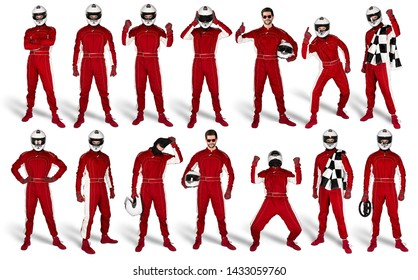 Set Collection of race driver with red overall saftey crash helmet and chequered checkered flag isolated on white background. motorsport car racing sport concept
