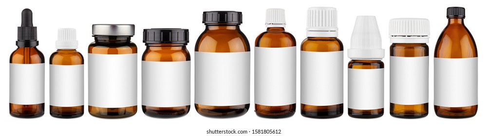 Set collection row of various brown medicine pill glass pipette dropper bottle with blank copyspace label design pattern isolated on white panorama background
