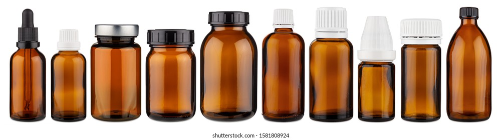 Set collection row of various brown medicine pill glass pipette dropper bottle blank without copyspace label design pattern isolated on white panorama background