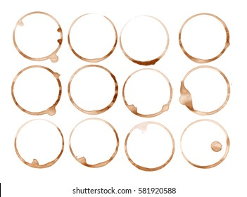 Set collection of tea, wine or coffee stain isolated on white background