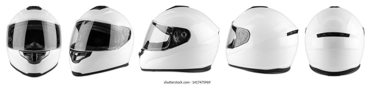 Set collection of white motorcycle carbon integral crash helmet isolated on white background. motorsport car kart racing transportation safety concept