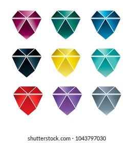 Set of coloful stones (diamonds) design elements - cutting samples. Gemstone. Fashion jewelry.