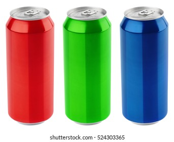 Set of color aluminum 500 ml beer can (red, green, blue) isolated on white background. Red beer can, green beer can and blue beer can with clipping path