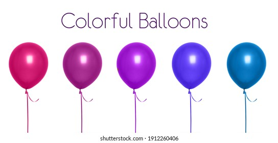 Set of color balloons isolated on white background. Text Space above