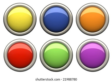 Set of color button with clipping path
