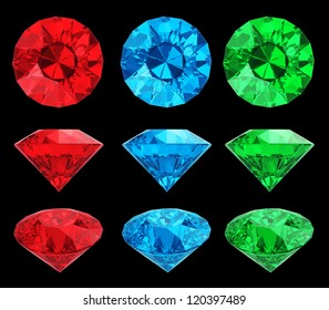 Set of color diamonds isolated with clipping path