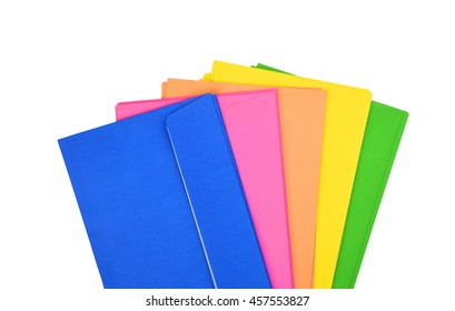 Set of color envelope, isolated on white background