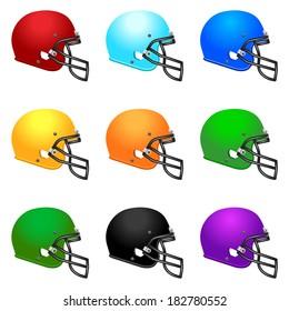 Set of color football helmets.