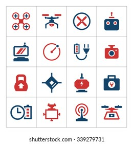 Set color icons of quadrocopter and drone isolated on white