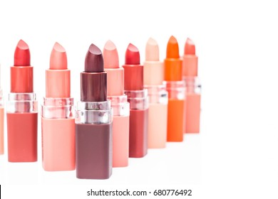 Set of color lipsticks set isolated on white background, Red, pink, wine, vinous lipstick