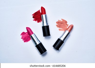 Set of color lipsticks. Lipstick colors. Beauty and cosmetics background.Fashion lipstick.