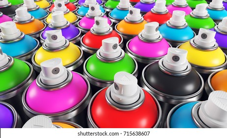 Set of color paint cans, Closeup render 3d