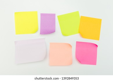 set of color paper notes on a white background - Image