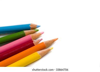 Set of color pencils with copy space for text insertion