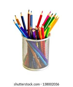 Set of color pencils in holder