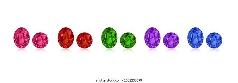 Set of color round and oval gemstones isolated on white background
