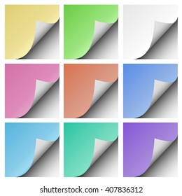 Set of color sheets of paper with corner folds placed on white background. Element for advertising and promotional message.