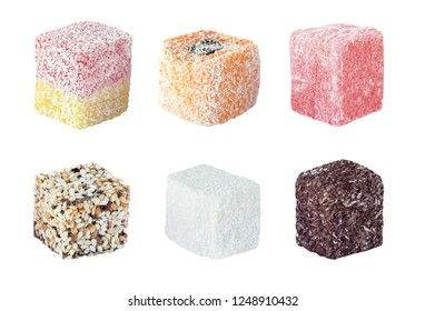 Set of color turkish delights isolated on white background. Delicious rahat lokum dessert