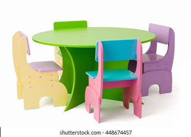 Set of  colored baby furniture, table and chairs can be transformed for children of different ages