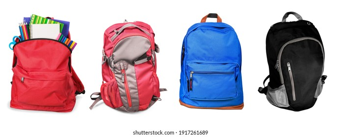 Set of colored backpacks with bright school stationery
