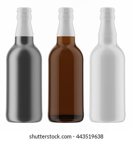 Set of colored beer bottles with white caps isolated on white background. 3D Mock up for your design.